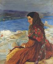 Figura femenina con las Islas Baleares al fondo: An island girl