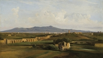 Aqueduc dans la campagne romaine: A view of the Roman campagna and the Claudian acqueduct towards Monte Cavo
