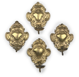 A SET OF FOUR GERMAN GILT-COPP