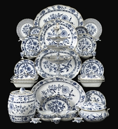 AN ASSEMBLED MEISSEN BLUE AND