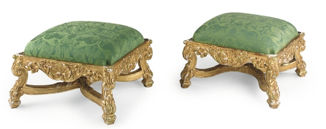 A PAIR OF GILTWOOD STOOLS