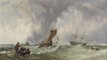 Fishing boats off a jetty on a squall