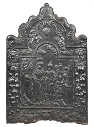 A DUTCH CAST IRON HEARTHPLATE