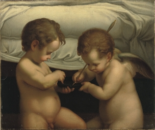 Two putti playing with an arro
