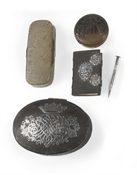 A DUTCH SILVER MOUNTED LEATHER