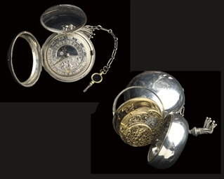 A DUTCH SILVER PAIR-CASED POCK