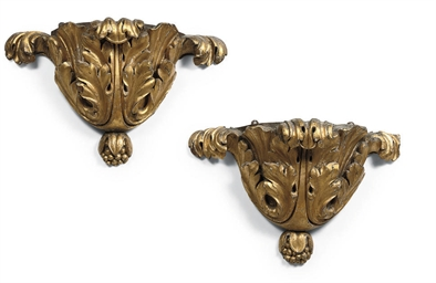 A PAIR OF DUTCH GILTWOOD WALL