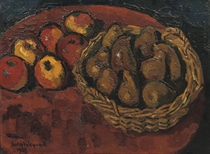 A still life with apples and pears in a basket