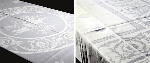 A DAMASK LINEN TABLECLOTH