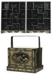 A pair of Chinese lacquer disp