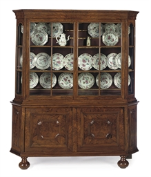 A DUTCH FIGURED-WALNUT DISPLAY
