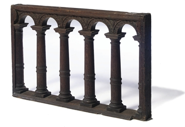 A DUTCH CARVED OAK BALUSTRADE