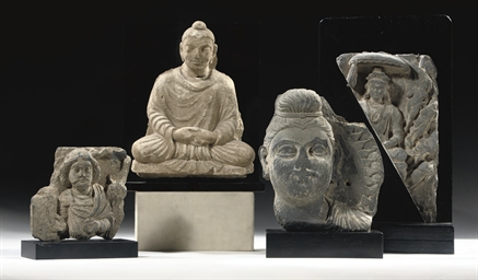 Three Gandhara grey schist fra