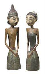 A pair of Javanese painted woo