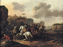 A cavalry skirmish in a rocky Italianate landscape