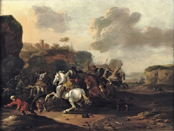 A cavalry skirmish in a rocky