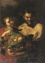 A Satyr holding a basket of fr
