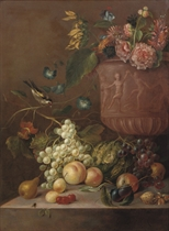 Grapes, peaches, a pear, plums, a cabbage, a walnut, a hazelnut, cherries and fly on a stone ledge, a sunflower, convolvulus, roses, chrysanthemums and other flowers in a sculpted urn, with a finch on a branch