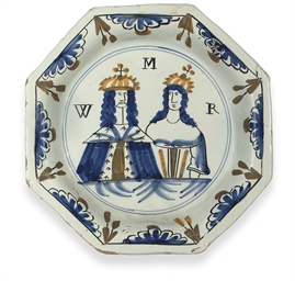 AN ENGLISH DELFT POLYCHROME RO