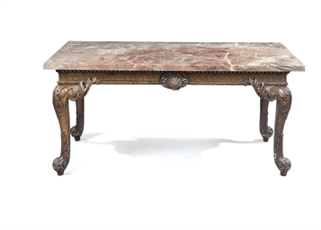 A GEORGE II GRAINED SIDE TABLE