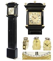 A fine Charles II ebony and gilt-brass mounted Roman striking longcase clock of three month duration