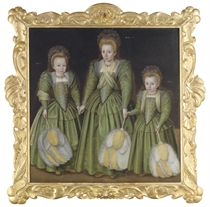 Triple portrait of three girls, three-quarter-length, in green silk dresses with lace embroidery, holding yellow and white feathered fans