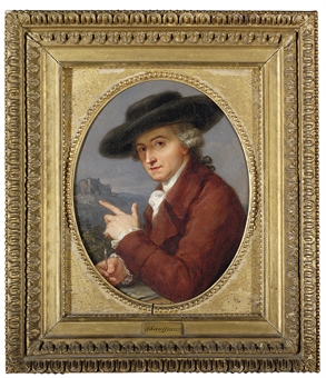 Portrait of Antonio Pietro Zucchi, A.R.A. (1726-1795), the artist's husband, small half-length, in a russet coat and a black hat, drawing, a castle on a hill in the distance