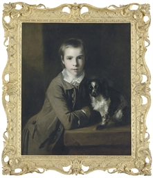 Portrait of William Charles Colyear, Viscount Milsington, later 3rd Earl of Portmore (1747-1823), when a boy, half-length, in a grey coat, leaning on a table, with a spaniel