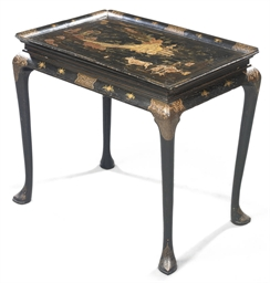 A GEORGE II BLACK AND GILT-JAP