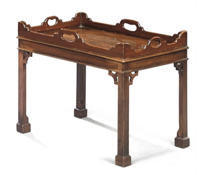 A MAHOGANY TRAY-ON-STAND