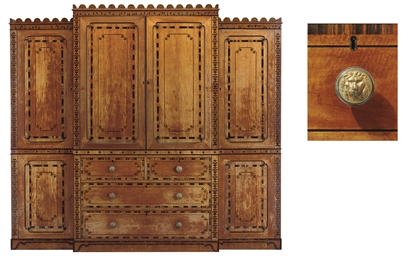 A REGENCY SATINWOOD WARDROBE