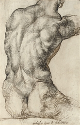 A nude torso seen from behind,