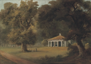 View of a pavilion in a glade