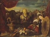 Buste de Bacchus entouré d'une guirlande de fleurs, avec une corbeille de fruits, de la vaisselle précieuse et deux personnages