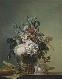 Bouquet de fleurs, flûte et pa