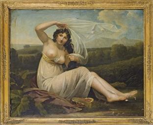 Jeune femme assise dans un pay