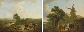Paysan et son chien avec un troupeau dans la campagne ; et Paysan avec des vaches aux abords d'un moulin