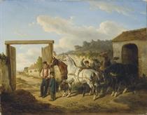 L'attelage des chevaux de poste