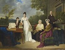 Portrait de la famille de l'artiste posant devant le château de Juilly