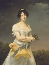 Portrait d'Amélie-Justine Laidin de la Bouterie, née Pontois, tenant un chapeau rempli de fleurs