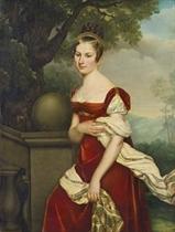 Portrait d'Aglaé-Constance Boudard en robe de velours rouge