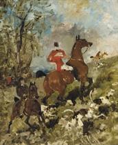 Le comte Geoffroy de Ruillé et son fils à la chasse