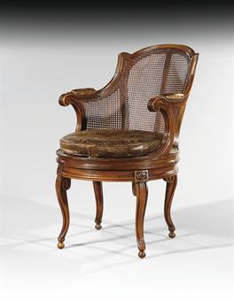 fauteuil de bureau canne d 39 epoque louis xvi estampille. Black Bedroom Furniture Sets. Home Design Ideas