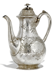 A VICTORIAN SILVER COFFEE POT