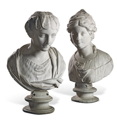 A PAIR OF ITALIAN PLASTER BUST