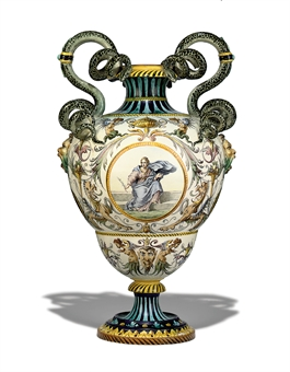 A GINORI LARGE TWO-HANDLED VASE
