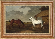 A bay and a grey horse grazing beside a stable