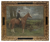 A huntsman on a chestnut horse in an extensive landscape