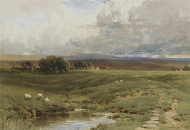 Sheep grazing below the moors