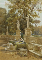 A woman at a fountain, Villa B